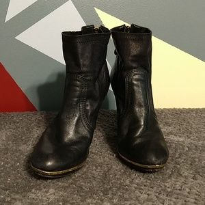 Tory Burch Black and Gold Leather Ankle Boots